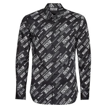 Odjeća Muškarci  Košulje dugih rukava Versace Jeans Couture SLIM PRINT WARRANTY Crna / Bijela