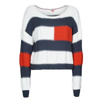 Odjeća Žene  Puloveri Tommy Jeans TJW  RWB STRIPE SWEATER Blue / Bijela / Red