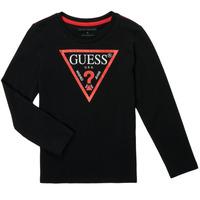 Odjeća Dječak  Majice dugih rukava Guess SOLEDAD Crna
