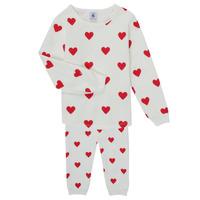 Odjeća Djevojčica Pidžame i spavaćice Petit Bateau CASSANDRE Bijela / Red