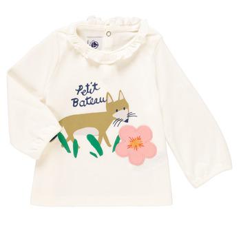 Odjeća Djevojčica Majice dugih rukava Petit Bateau ENLEVE Bijela