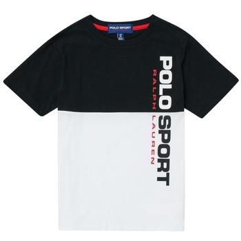 Odjeća Dječak  Majice kratkih rukava Polo Ralph Lauren KAMILA Bijela / Crna