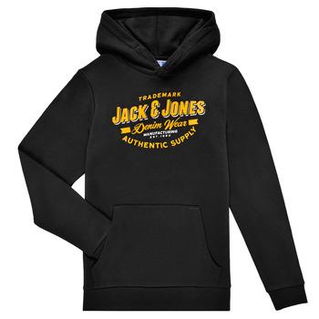 Odjeća Dječak  Sportske majice Jack & Jones JJELOGO SWEAT HOOD Crna