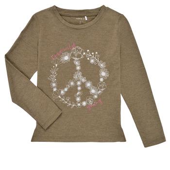 Odjeća Djevojčica Majice dugih rukava Name it NKFKALINDA LS TOP Taupe