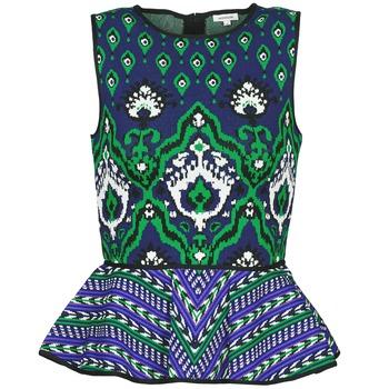 Odjeća Žene  Majice s naramenicama i majice bez rukava Manoush JACQUARD OOTOMAN Blue / Crna / Zelena