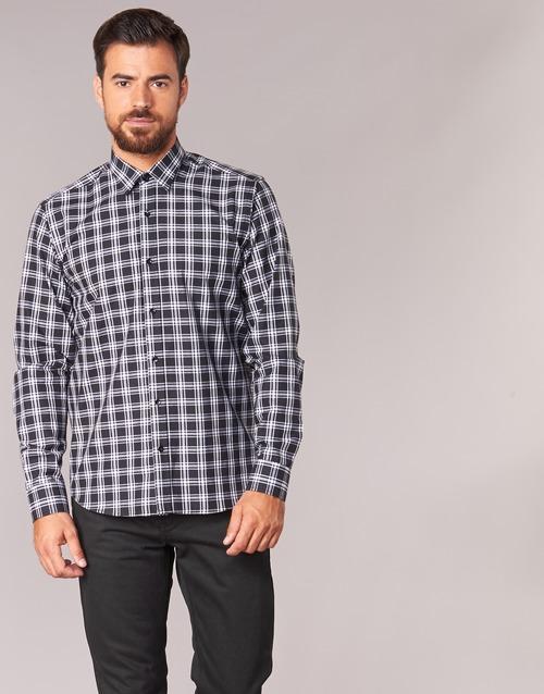 Odjeća Muškarci  Košulje dugih rukava Yurban FLENOTE Crna / Bijela