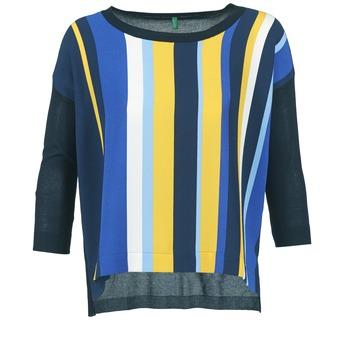 Odjeća Žene  Puloveri Benetton OVEZAK Blue / Žuta / Bijela