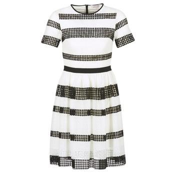 Odjeća Žene  Kratke haljine MICHAEL Michael Kors GRAPHIC CR STRIPE DRS Crna / Bijela