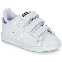 Obuća Djevojčica Niske tenisice adidas Originals STAN SMITH CF I Bijela / Srebrna