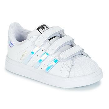Obuća Djevojčica Niske tenisice adidas Originals SUPERSTAR CF I Bijela / Srebrna