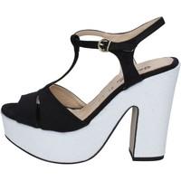 Obuća Žene  Sandale i polusandale Geneve Shoes sandali nero camoscio bianco BZ897 Multicolore
