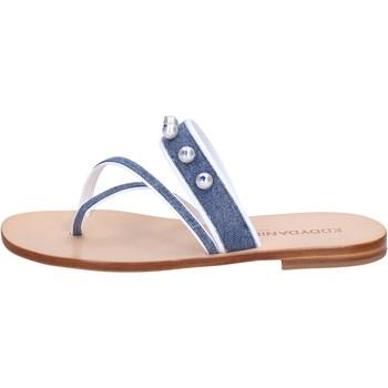 Obuća Žene  Sandale i polusandale Eddy Daniele sandali blu jeans bianco pelle swarovski aw229 Blu