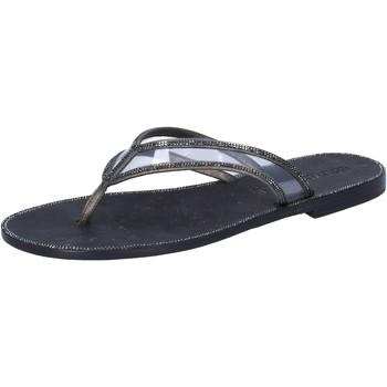 Obuća Žene  Sandale i polusandale Eddy Daniele sandali grigio pelle nero plastica swarovski aw682 Grigio